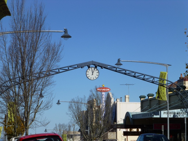 Clock mounted over the main street in Katoomba