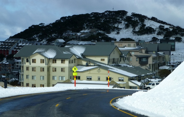 Snow on the roof of buildings at Mt Hotham