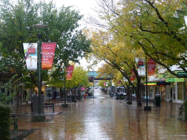 A wet Bridge Mall at Ballarat