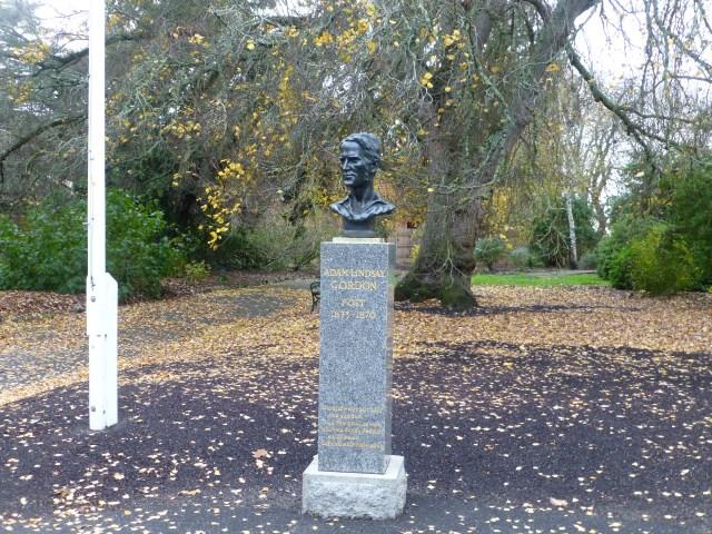Adam Lindsay Gordon bust outside the Adam Lindsay Gordon Craft Cottage in the Botanic Gardens
