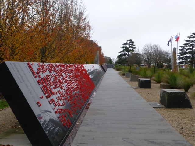 Names on the plaques at the Ex POW Memorial at Ballarat