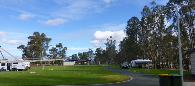 Acres of green grass at the Caravan Park at Bridgewater on Loddon