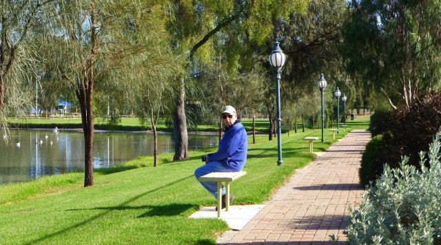 Contemplation interrupted along the Federation Walk at Boort