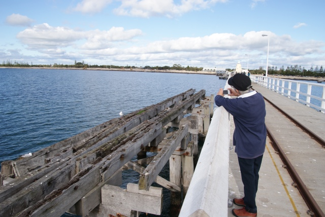 Margaret looking back on part of the old jetty