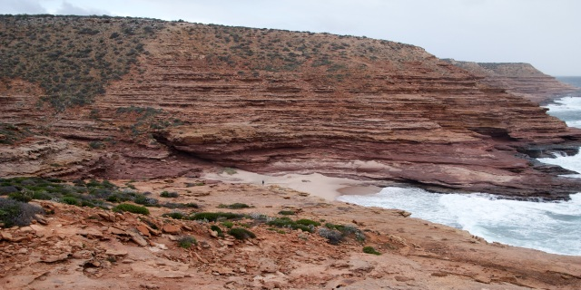Coastal Cliffs at Kalbarri - Pot Alley - note the speck in the middle of the picture is an adult -  180cm tall
