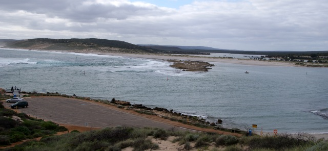 Looking down the Murchison River at Kalbarri from the monument