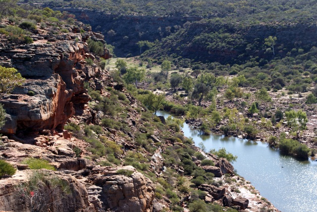 The view from Hawks Head Lookout on the Murchison River