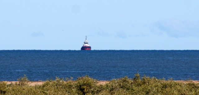 Tug boat awaiting a larger ship off the coast at Carnarvon