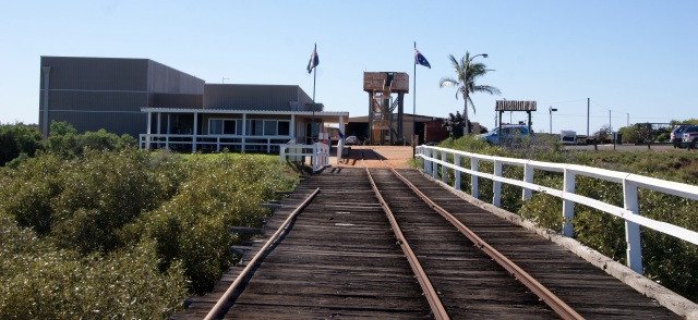 Looking back along the jetty to the Interpretive Centre and  Railway Museum at Carnarvon