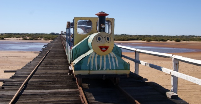 The Coffee Pot train on One Mile Jetty at Carnarvon