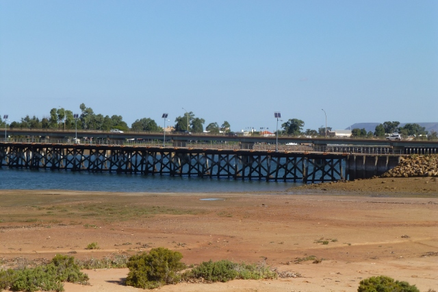 The old Port Augusta bridge in the foreground and the Joy Baluch Bridge in background