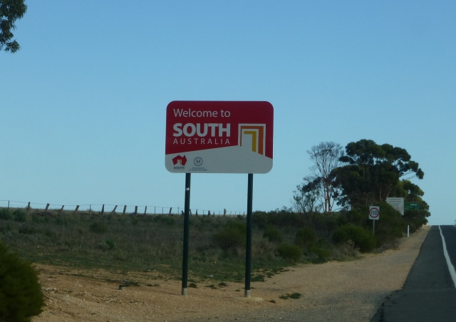 Crossing the border between Victoria and South Australia
