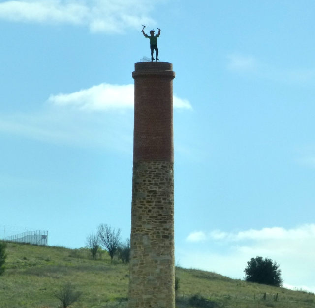 Driving through Burra we saw this historic chimney with the miner on top
