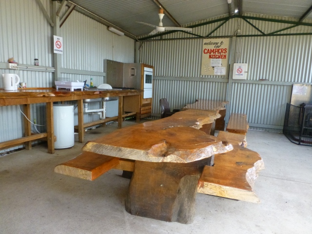 Look at the slabs of timber in the camp kitchen at Kojonup Caravan Park