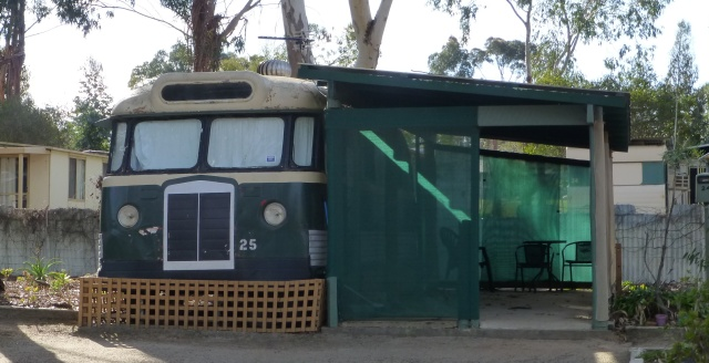 An old bus used for accommodation at Kojonup Caravan Park