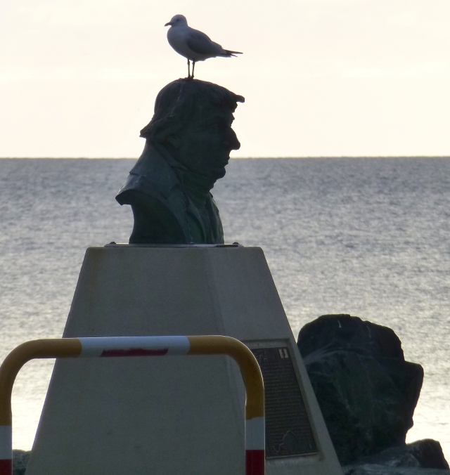 Cheeky Pigeon found a use for this bust of the explorer Baudin