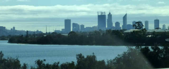 Perth City in the distance as we travel along the freeway