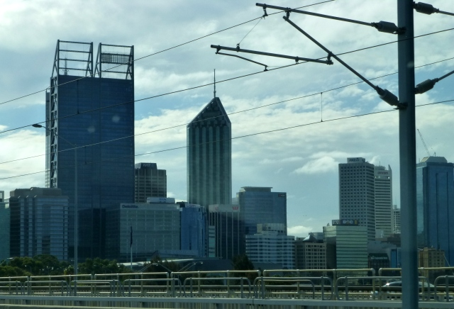 Highrise in Perth through the rail power lines