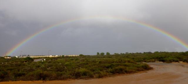 A rainbow at Rainbow Valley at Coastal Cliffs at Kalbarri
