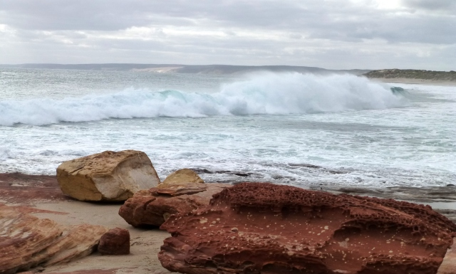 Waves at the mouth of the Murchison River at Kalbarri