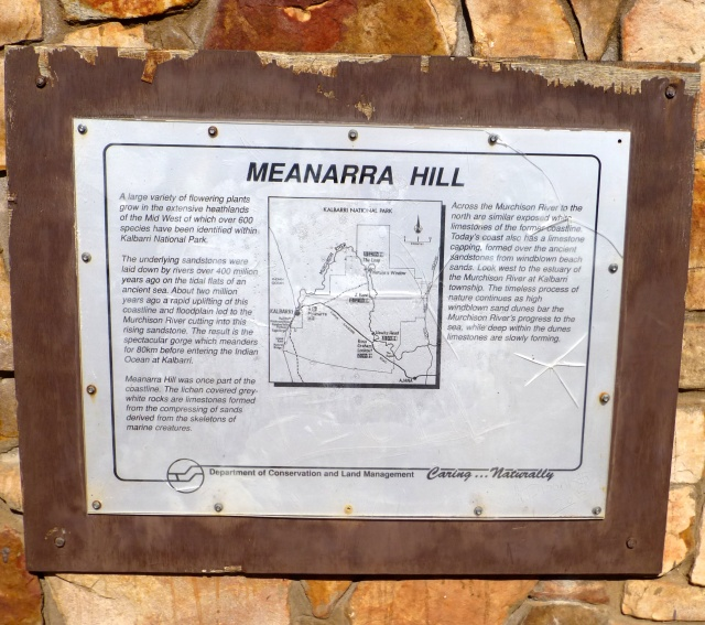 Plaque at the lookout on Meanarra Hill