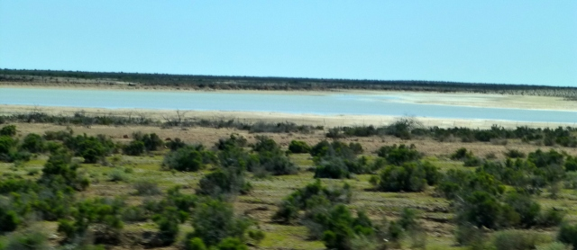 Salt lake on the side of the road on the way to Carnarvon
