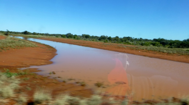 Ponded rainwater on the road to Carnarvon