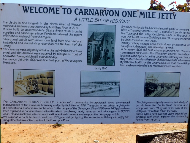 One Mile Jetty sign at Carnarvon