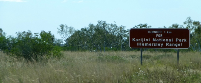 The sign for Karijini National Park just north of the Nanutarra Roadhouse