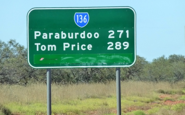 Only 289 kilometres o Tom Price - via the shortcut