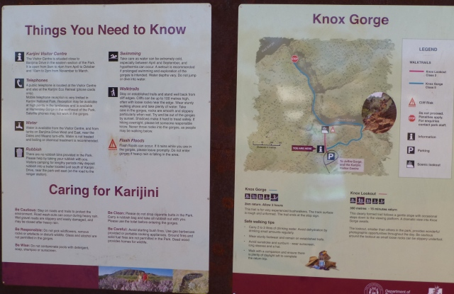 Information sign at Knox Gorge