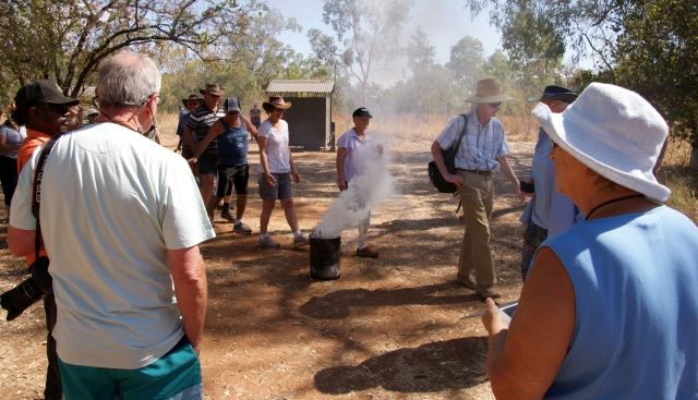 Margaret taking part in the smoking ceremony at Windjana Gorge