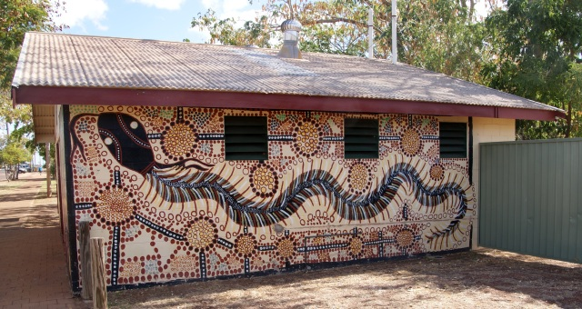 Indigenous Art on the Toilet Block in Normanton