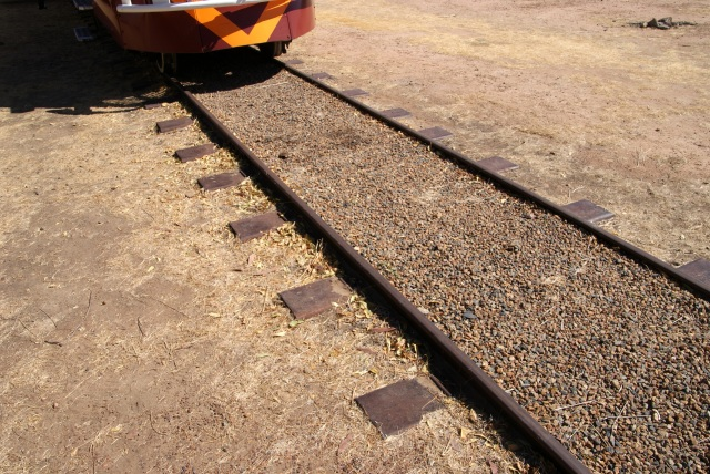 The Cast Iron Sleepers buried in natural earth - no ballast underneath as there would be in conventional railway construction