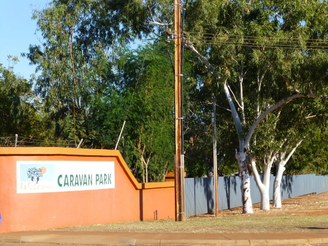 The front gate to the Kimberley Entrance Caravan Park in Derby