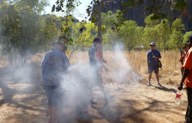 Murray taking part in the smoking ceremony at Windjana Gorge