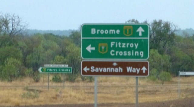The turnoff from Derby to Fitzroy Crossing and beyond