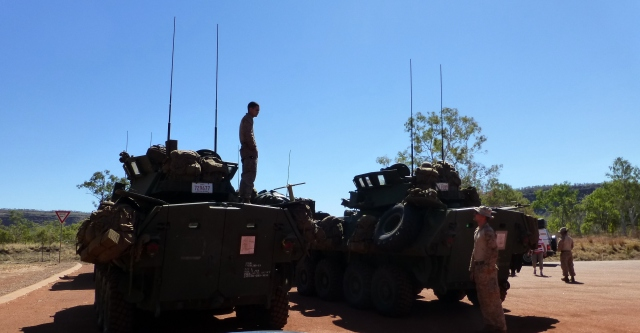 Armoured personnel carriers at Victoria River Roadhouse