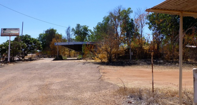 Burnt out service station at Larrimah