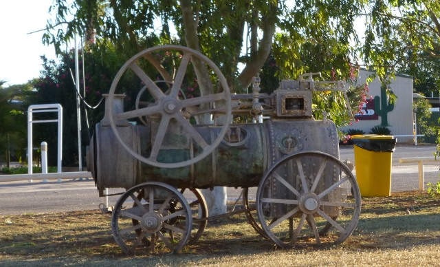 Old steam engine at front of Barkly Homestead