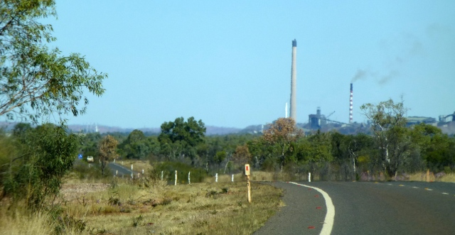 The twin chimneys which dominate the landscape in Mount Isa