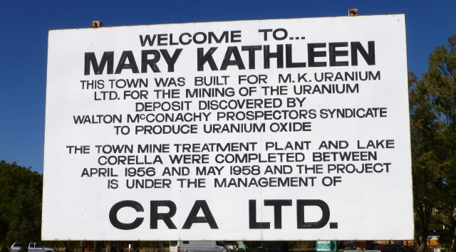 Mary Kathleen Sign at the Park in Cloncurry