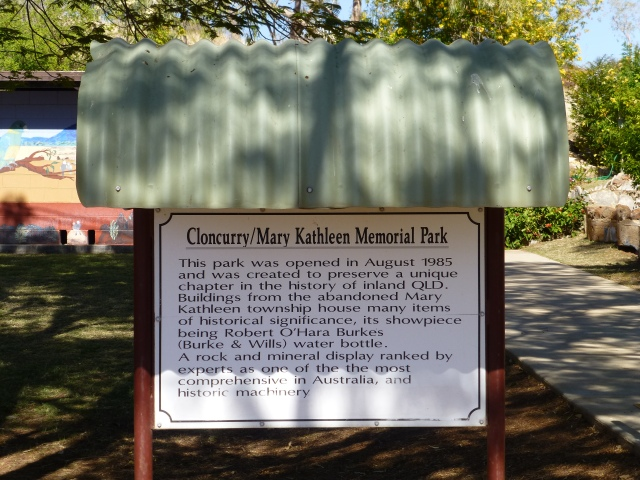 Information sign at the park in Cloncurry