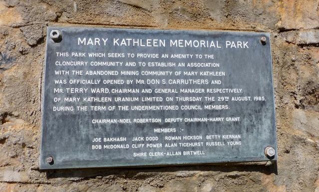 Memorial Park opening Plaque