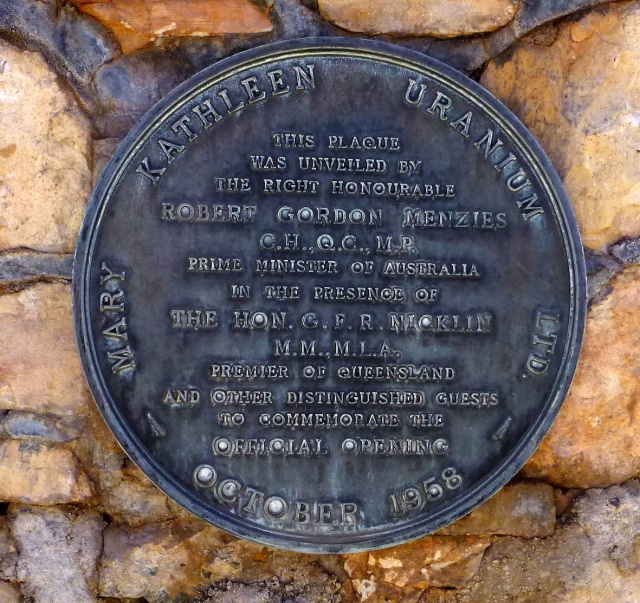 Opening Plaque originally at Mary Kathleen now relocated to the park in Cloncurry