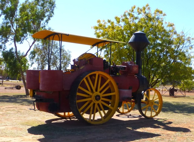 Old roller on display in the park at Cloncurry