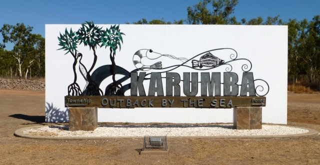 Really good sign at Karumba indicating the two separate areas of Karumba