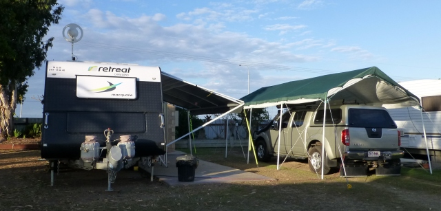 Our great campsite at Bundaberg - even provided with a carport
