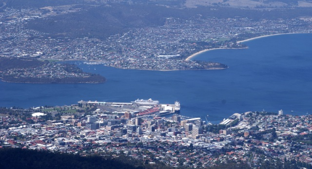 Hobart sea front viewed from Mt Wellington