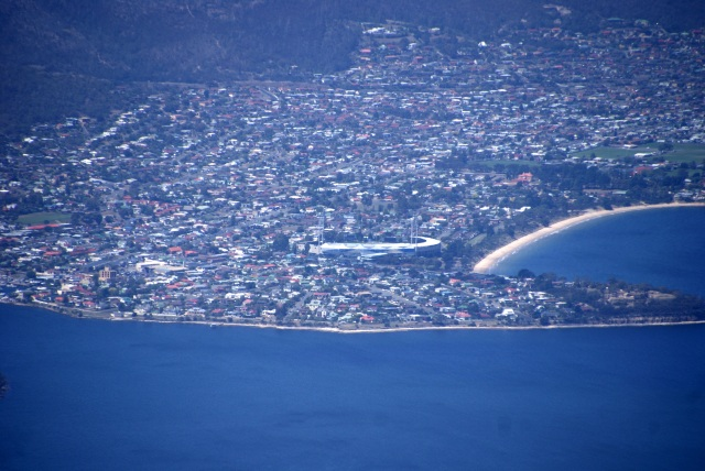 Bellerive Oval viewed from Mt Wellington